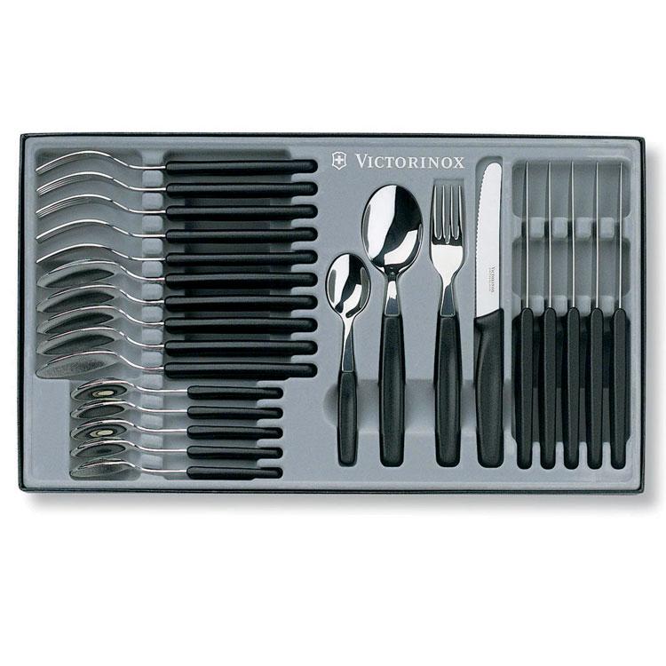Scatola 24 postate victorinox con coltello da tavola for Posate nere